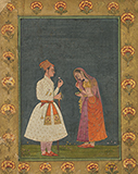 YOUNG PRINCE WITH BASHFUL LADY -    - Classical Indian Art | Live Auction, Mumbai