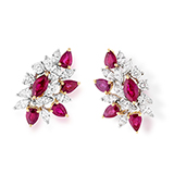 RUBY AND DIAMOND EARRINGS -    - Art and Collectibles Online Auction