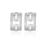 PARENTESI 18 K WHITE GOLD PAVE DIAMOND STUD EARRINGS BY BVLGARI -    - Art and Collectibles Online Auction