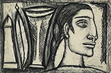 Untitled (Woman in Profile) - F N Souza - Evening Sale of Modern and Contemporary Indian Art