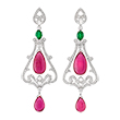 RUBELLITE, EMERALD AND DIAMOND EARRINGS - Fine Jewels and Objets