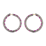RUBY AND DIAMOND HOOPS -    - Fine Jewels and Objets