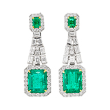 EMERALD AND DIAMOND EARRINGS -    - Fine Jewels and Objets