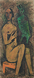 Untitled (Hawk on her Thigh) - M F Husain - Evening Sale | New Delhi, Live