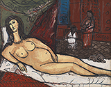 Untitled (after Titian's Venus of Urbino and Manet's Olympia) - F N Souza - Summer Online Auction