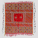 RED SILK HEAD SCARF WITH SHRINE MOTIF -    - Woven Treasures: Textiles from the Jasleen Dhamija Collection