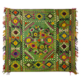 FLORAL GREEN NIMSUZANI EMBROIDERED SCARF -    - Woven Treasures: Textiles from the Jasleen Dhamija Collection