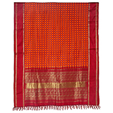 PUJA SARI ORANGE WITH RED PALLAV -    - Woven Treasures: Textiles from the Jasleen Dhamija Collection