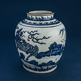BLUE AND WHITE PORCELAIN JAR -    - Asian Art
