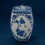 BLUE AND WHITE PORCELAIN JAR WITH COVER -    - Asian Art