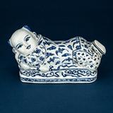 BLUE AND WHITE PORCELAIN PILLOW -    - Asian Art