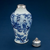 BLUE AND WHITE VASE WITH A SILVER MOUNT -    - Asian Art