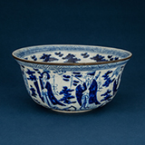 BLUE AND WHITE PORCELAIN BOWL WITH A METAL RIM -    - Asian Art