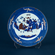 BLUE AND COPPER RED PORCELAIN PLATE - Asian Art