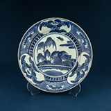 BLUE AND WHITE PORCELAIN DISH -    - Asian Art