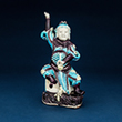TURQUOISE AND AUBERGINE COLOURED PORCELAIN FIGURE OF CELESTIAL GUARDIAN - Asian Art
