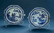 SET OF TWO BLUE AND WHITE PORCELAIN HOT WATER PLATES - Asian Art