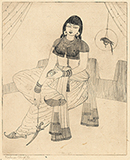 Untitled (Woman with a Parrot and a Dagger) - Abdur Rahman Chughtai - From Classical to Contemporary