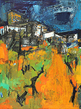 Untitled (Orange and Green Townscape) - S H Raza - Evening Sale | Mumbai, Live