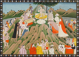 BALARAM AND KRISHNA ON MOUNT GOVARDHAN -    - Classical Indian Art