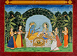 RADHA KRISHNA FEASTING IN A GROVE - Classical Indian Art