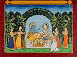 RADHA KRISHNA FEASTING IN A GROVE -    - Classical Indian Art