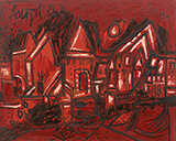 Untitled (Hampstead Terraces) - F N Souza - Modern Indian Art