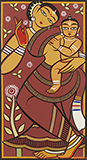 Untitled (Mother and Child) - Jamini  Roy - Modern Indian Art