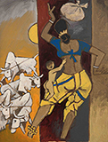Untitled (Gaja Gamini) - M F Husain - Modern Indian Art