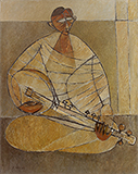 Sarode Player - Paritosh  Sen - Modern Indian Art