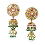 PAIR OF DIAMOND AND RUBY `JHUMKI` EARRINGS -    - Fine Jewels: From Tradition to Innovation