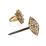 SET OF GEMSET HAIR PIN AND RING -    - Fine Jewels: Ode to Nature