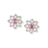 PAIR OF DIAMOND AND PINK SAPPHIRE EARRINGS -    - Fine Jewels: Ode to Nature