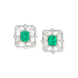 PAIR OF COLOMBIAN EMERALD AND DIAMOND EARRINGS -    - Fine Jewels: Ode to Nature