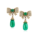 PAIR OF DIAMOND AND EMERALD EARRINGS -    - Fine Jewels: Ode to Nature