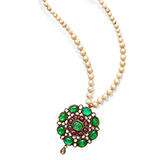 EMERALD, RUBY, DIAMOND AND PEARL NECKLACE -    - Fine Jewels: Ode to Nature