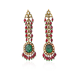 PAIR OF DIAMOND, EMERALD AND SPINEL EARRINGS -    - Fine Jewels: Ode to Nature