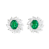 PAIR OF EMERALD AND DIAMOND EARRINGS -    - Fine Jewels: Ode to Nature