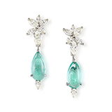 PAIR OF PARAIBA TOURMALINE AND DIAMOND EARRINGS -    - Fine Jewels: Ode to Nature