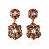 PAIR OF DIAMOND AND RUBY EARRINGS -    - Fine Jewels: Ode to Nature