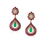 PAIR OF DIAMOND, RUBY AND EMERALD EARRINGS -    - Fine Jewels: Ode to Nature
