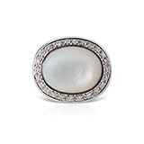 MOTHER-OF-PEARL AND DIAMOND RING BY ROBERTO COIN -    - Fine Jewels: Ode to Nature