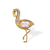 DIAMOND AND KUNZITE 'FLAMINGO' BROOCH -    - Fine Jewels: Ode to Nature