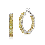 PAIR OF COLOURED DIAMOND HOOPS -    - Fine Jewels: Ode to Nature