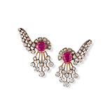 PAIR OF RUBY AND DIAMOND EARRINGS -    - Fine Jewels: Ode to Nature