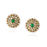 PAIR OF EMERALD, PEARL AND DIAMOND KARNPHOOL EARRINGS -    - Fine Jewels: Ode to Nature