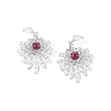 PAIR OF RUBELLITE AND DIAMOND DAHLIA EARRINGS -    - Fine Jewels: Ode to Nature