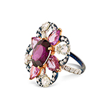 PINK SAPPHIRE, GARNET AND DIAMOND RING -    - Fine Jewels: Ode to Nature