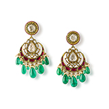 PAIR OF DIAMOND AND EMERALD CHANDBALI EARRINGS -    - Fine Jewels: Ode to Nature