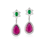 PAIR OF RUBELLITE TOURMALINE, EMERALD,AND DIAMOND EARRINGS -    - Fine Jewels: Ode to Nature